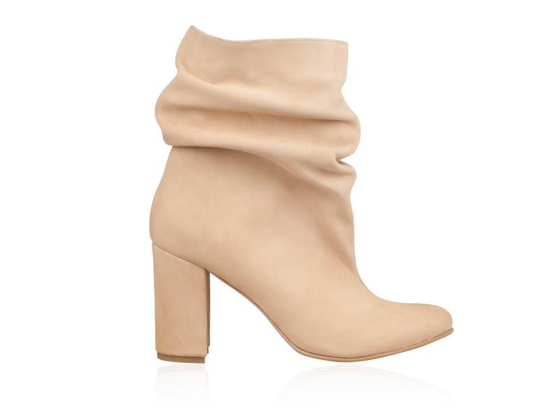 New York pe picioare imagini din preț redus Botine dama fronsate din piele intoarsa Simple M59 - Pantofi Piele ...
