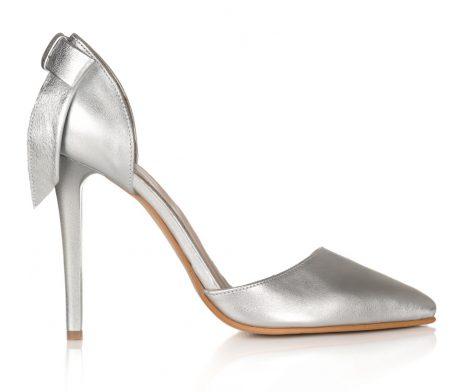 pantofi stiletto decupati pantofi eleganti pantofi argintiu